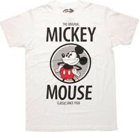 Disney Mickey Mouse Classic Since 1928 White Men's T-Shirt New
