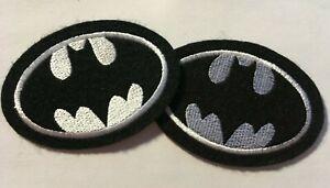 "Batman patch 3.5"" wide heat seal iron-on backing black felt  white logo 2 pc lot"