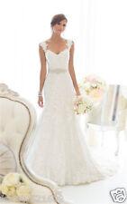New White/Ivory Lace Bridal Gown Wedding Dress Custom Size 6 8 10 12 14 16 18+++