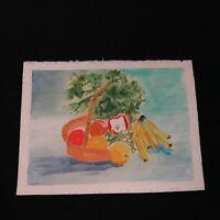 Vintage 90's Watercolor Painting / Unframed / Still Life Fruit Vegetable Basket