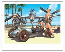 Affiche Romain Hugault Pin-up Avion P38 et voiture Signée 40x50 cm