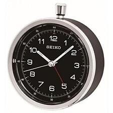 Seiko QHE088K Lumibrite Display Beep Alarm Clock with Second Hand Sweep - Black