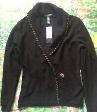 LAUREN RALPH LAUREN Black Sleeve Front String Tie Collar Sweater M Retails $119