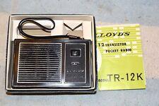 LLOYDS UIB TR-12K AM POCKET 12 TRANSISTOR RADIO & INSTRUCTIONS PRO SERVICED
