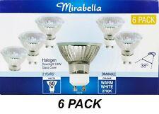 6 x 50W 240V GU10 Halogen Downlight Globes Bulbs Lamps Warm White Mirabella