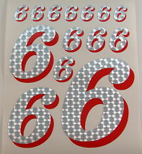 Racing Numbers Number 6 Decal Sticker Pack Silver Red 1/8 1/10 RC models S03
