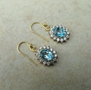 Solid Sterling Silver 925 Blue Topaz White Zircon GOLD OVERLAY Dangle Earrings