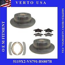 Kit Of 2 Rear Disc Brake Rotors ,Pads & Emergency shoes 99-04 Grand Cherokee