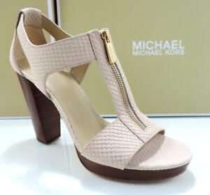 Michael Kors Berkley T-Strap Platform Sandal Zip Embossed Leather Oyster Size 10