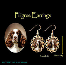 English Springer Spaniel Dog Red White - Gold Filigree Earrings