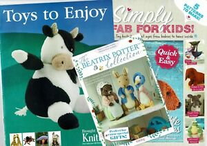 3 Magazine Knitting Pattern Booklets - Toys inc Beatrix Potter