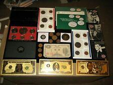 HUGE Junk Drawer Coin Lot Ike Dollar Proof Mint Sets SILVER IKE Medal ELVIS Card