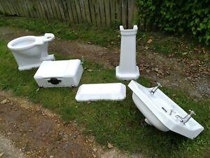Vintage Armitage Ware white bathroom sink & pedestal and toilet art deco