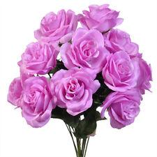 Light Lilac 12 Open Long Stem Roses Silk Wedding Flowers Bouquets Decoration