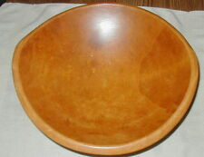 VINTAGE CARVED WOODEN DOUGH BOWL w HANDLES, SINGLE PIECE OF WOOD, KITCHEN WARE