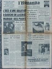 L'Humanité - (1er nov 1957) Crise - Hausses des prix - Grèves du textile Mazamet
