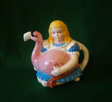 Teapot ~ Alice in Wonderland with Flamingo. Hard to Find, Girl with Flamingo
