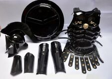 Medieval King Spartan 300 Helmet Black Plume Muscle Jacket Leg & Arm Guard Set