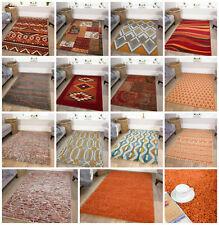 Modern Terracotta Orange Living Room Rugs Soft Small Large Geometric Shaggy Rug