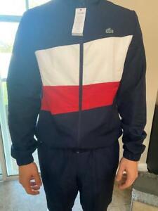 LACOSTE Men's Fashion Sports Hooded Jacket +Jogging Pants Tracksuit 2pcs Size: L
