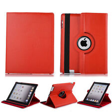 360 Rotating PU Leather Folio Case Smart Cover Stand For iPad 2 3 4 Tablet Red