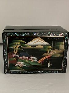 Japanese Jewelry Box Hand Painted Black Lacquer Mother of Pearl Inlay w/ Mirror