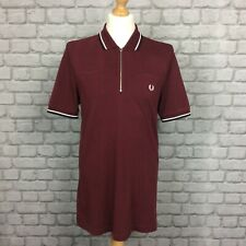 FRED PERRY MENS UK M BURGANDY ZIP NECK PIQUE SHORT SLEEVE POLO SHIRT RRP £65 CS