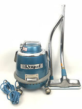 RARE Vintage ROYAL 231 Rolling Canister Vacuum Cleaner Blue w/ Upright Head