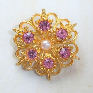 Vintage Brooch Gold Snowflake Flower Sparkling Pink Glass Stones and Faux Pearl