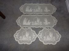Ivory Lace Silent Night Design Table Runner & Doily set of 4