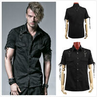 Punk Rave Y-530 Men's Gothic Steampunk Rock Industrial Military Black Top Shirt