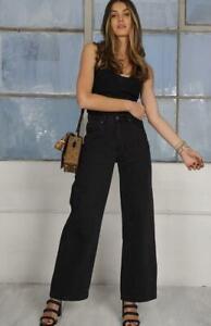 Refuge Denim Wide Leg Jeans Full High Waist - Black