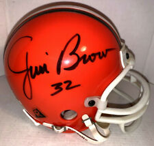 JIM BROWN AUTOGRAPHED SIGNED CLEVELAND BROWNS MINI HELMET wCOA #32 INSCRIPTION