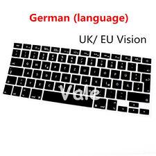 """German UK EU Keyboard Cover for Apple Macbook Air Pro Retina MAC 13"""" 15 17 Black"""