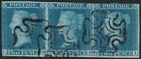 1841 SG14 2d BLUE PLATE 3 GOOD USED STRIP OF 3 IVORY HEADS (LG/LI)