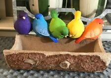 Bird Bath Or Feeder Bright And Colorful Hand Painted Life Size Birds Rainbow