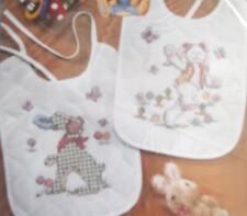Easter BUNNY gingham dog Cross Stitch BIBS SET nursery NEW baby BIB kit