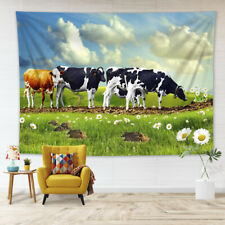 Cows Heifer Daisy Flower Pasture Tapestry Wall Hanging Living Room Bedroom Dorm