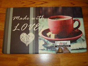 Anti Fatigue Memory Foam Kitchen Mat Rug 18x30 COFFEE Made with Love! Heart TEA