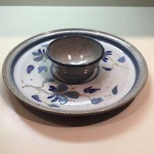 "Art Studio Pottery ""Veggie~Chip & Dip Serving Dish // Stoneware //Artist Signed"