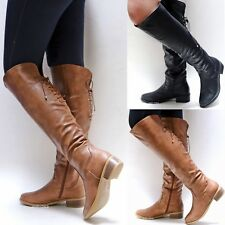 New Women TJ86 Tan Black Over the Knee Back Lace Low Heel Long Riding Boots 6-10