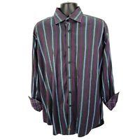 Thomas Dean Mens XL Flip Cuff Button Down Shirt Black Purple Blue Stripe Cotton