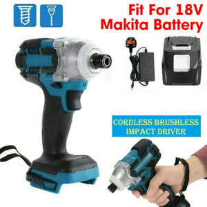 18V Brushless Cordless Impact Wrench Driver Replace with 1 Battery +1 UK Charger