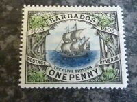 BARBADOS POSTAGE REVENUE STAMP SG152 ONE PENNY LIGHTLY MOUNTED MINT