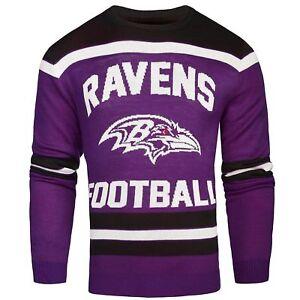 NFL Baltimore Ravens Men's Crew Neck Sweater - Glows in the Dark! Small Medium