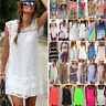 Womens Summer Boho Casual Beach Wear Bikini Cover Up Ladies Loose Mini Sundress