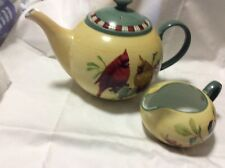 LENOX WINTER GREETINGS EVERYDAY TEAPOT & CREAMER  CATHERINE MCCLUNG