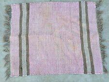 Vintage Pink And Brown Rag Rug With Fringe