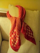 Vintage Large Red & White Herringbone Houndstooth Print Scarf 32 X 32 inches