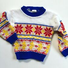 Boys 2t 3T Acrylic Vintage Sweater Red White Yellow Blue Christmas Holiday